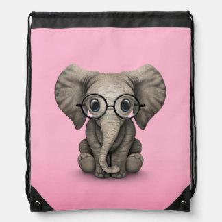 Cute Baby Elephant with Reading Glasses Pink Drawstring Bag