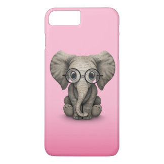 Cute Baby Elephant with Reading Glasses Pink iPhone 7 Plus Case