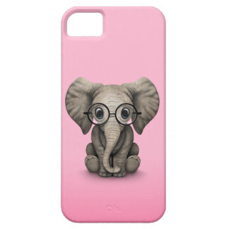 Cute Baby Elephant with Reading Glasses Pink iPhone SE/5/5s Case