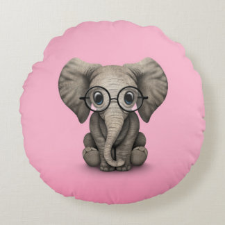 Cute Baby Elephant with Reading Glasses Pink Round Pillow