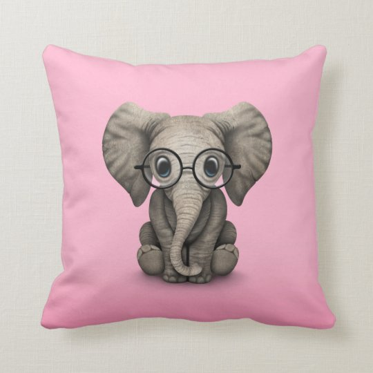 Cute Baby Elephant With Reading Glasses Pink Throw Pillow