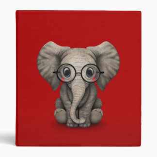 Cute Baby Elephant with Reading Glasses Red 3 Ring Binder