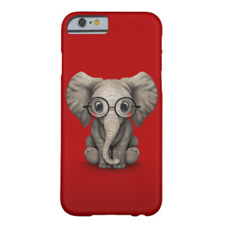 Cute Baby Elephant with Reading Glasses Red Barely There iPhone 6 Case