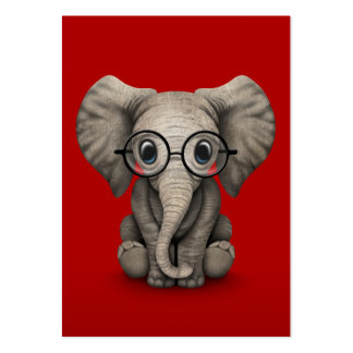 Cute Baby Elephant with Reading Glasses Red Business Card Templates