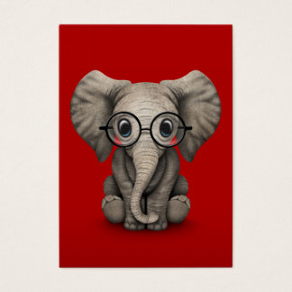 Cute Baby Elephant with Reading Glasses Red Business Card