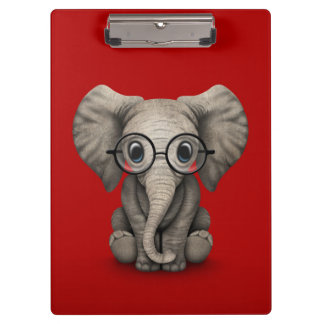 Cute Baby Elephant with Reading Glasses Red Clipboard