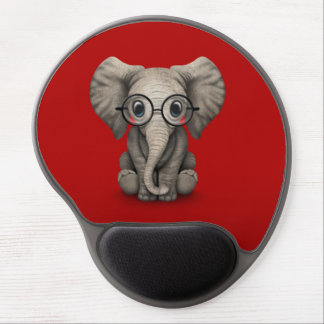 Cute Baby Elephant with Reading Glasses Red Gel Mouse Pad