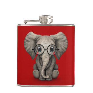 Cute Baby Elephant with Reading Glasses Red Hip Flask
