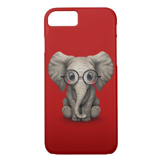 Cute Baby Elephant with Reading Glasses Red iPhone 7 Case