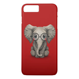 Cute Baby Elephant with Reading Glasses Red iPhone 7 Plus Case