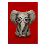 Cute Baby Elephant with Reading Glasses Red Large Business Card