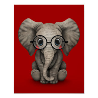 Cute Baby Elephant with Reading Glasses Red Posters