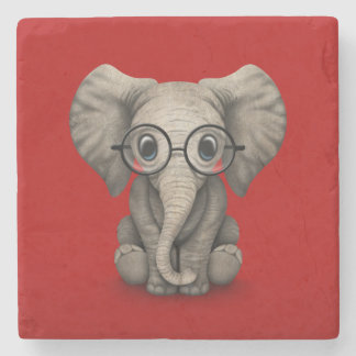 Cute Baby Elephant with Reading Glasses Red Stone Coaster