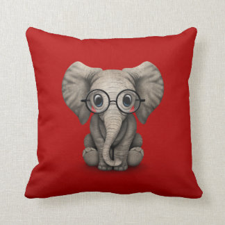 Cute Baby Elephant with Reading Glasses Red Throw Pillow
