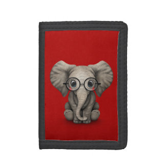 Cute Baby Elephant with Reading Glasses Red Tri-fold Wallet