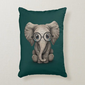 Cute Baby Elephant with Reading Glasses Teal Blue Accent Pillow