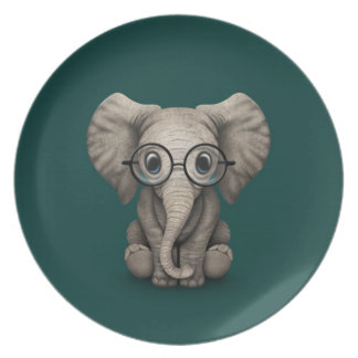 Cute Baby Elephant with Reading Glasses Teal Dinner Plates