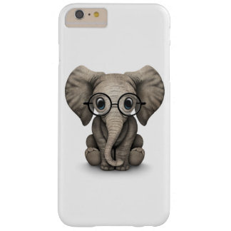 Cute Baby Elephant with Reading Glasses White Barely There iPhone 6 Plus Case