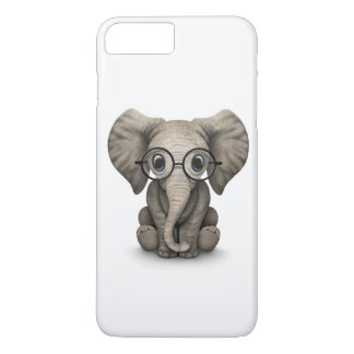 Cute Baby Elephant with Reading Glasses White iPhone 7 Plus Case
