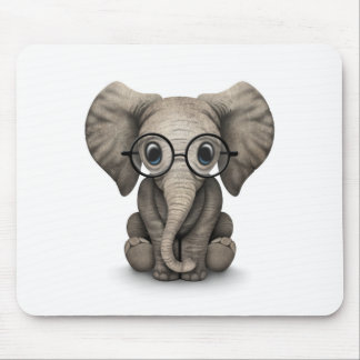 Cute Baby Elephant with Reading Glasses White Mouse Pad