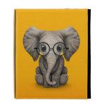 Cute Baby Elephant with Reading Glasses Yellow iPad Folio Case