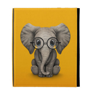 Cute Baby Elephant with Reading Glasses Yellow iPad Folio Case