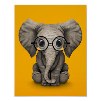 Cute Baby Elephant with Reading Glasses Yellow Poster
