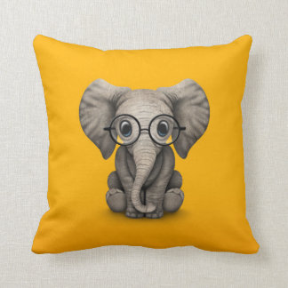 Cute Baby Elephant with Reading Glasses Yellow Throw Pillow