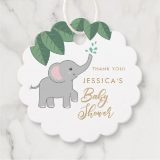 Cute baby elephant with sprinkling water thank you favor tags