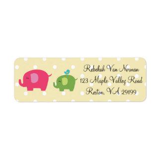 Cute baby elephants bird polka dot address labels
