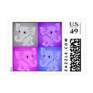 Cute Baby Elephants Soft Colors Pattern Postage