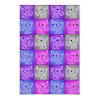 Cute Baby Elephants Soft Colors Pattern Poster