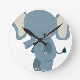 Cute baby eleplant round clock