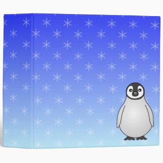 Cute Baby Emperor Penguin Snowflake Blue Binder