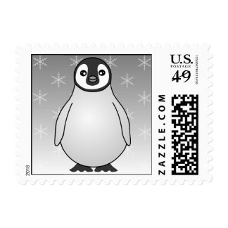 Cute Baby Emperor Penguin Snowflake Postage Stamp