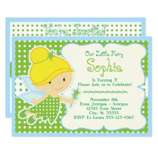 cute  baby fairy birthday party invitations
