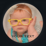 """Cute Baby Family Photo Paper Plate<br><div class=""""desc"""">Easily replace the template photo of a baby with that of your own cute baby or a photo of your family. Add a name or personal text to customize and personalize the memorable photo gift for the whole family.</div>"""