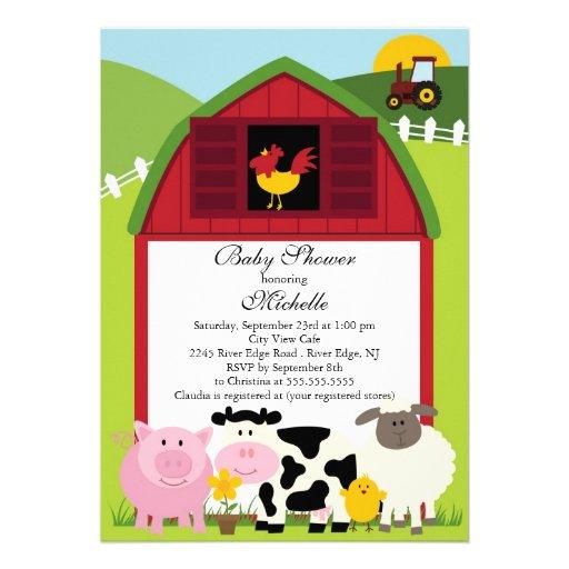 Cute Baby Farm Animals Baby Shower Invitation