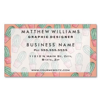 Cute Baby Faux Sparkly Cactus on Coral Pink Magnetic Business Cards (Pack Of 25)