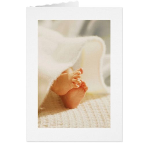 Cute Baby Feet Little Baby Feet Wrapped Blanket Greeting Card