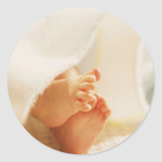 Cute Baby Feet Little Baby Feet Wrapped Blanket Classic Round Sticker