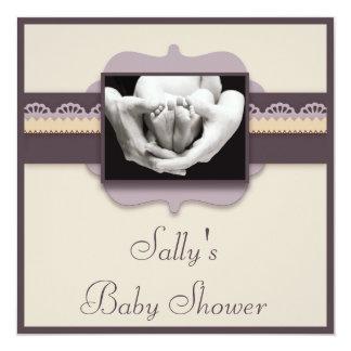 Cute Baby Feet Photo Elegant Neutral Baby Shower Card
