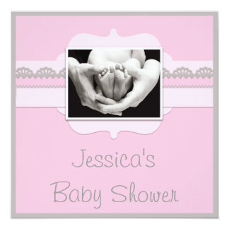 Cute Baby Feet Pink Baby Shower Add Your Photo Card
