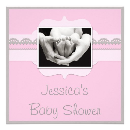 Cute Baby Feet Pink Baby Shower Add Your Photo Personalized Invites ...: www.zazzle.com/cute_baby_feet_pink_baby_shower_add_your_photo...