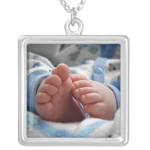 Cute Baby Feet Square Pendant Necklace