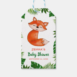 Cute Baby Fox | Baby Shower | Tropical Leaves Gift Tags