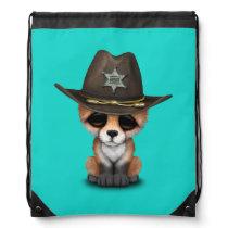 Cute Baby Fox Cub Sheriff Drawstring Backpack