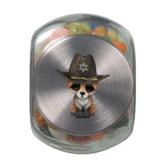 Cute Baby Fox Cub Sheriff Glass Jar