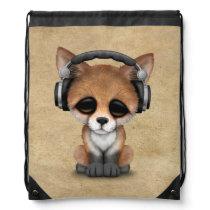 Cute Baby Fox Dj Wearing Headphones Drawstring Bag