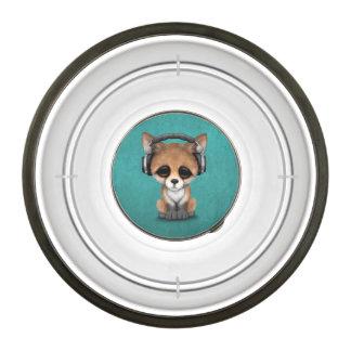 Cute Baby Fox Dj Wearing Headphones on Blue Bowl
